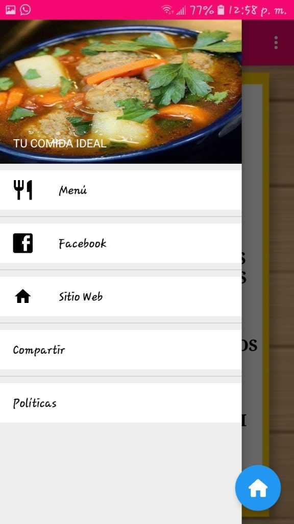 Aplicación de recetas hecha en kodular